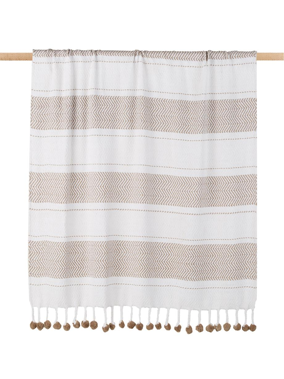 Plaid Pom Pom in wit/taupe, 100% katoen, Gebroken wit, taupe, 130 x 170 cm
