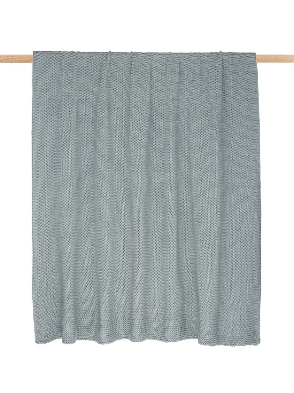 Koc z dzianiny Adalyn, 100% bawełna, Szałwiowy zielony, S 150 x D 200 cm