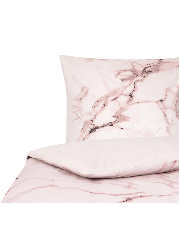 Funda nórdica doble cara de percal Malin, Parte superior: estampado mármol rosa Parte trasera: rosa monocromática, Cama 90 cm (150 x 220 cm)