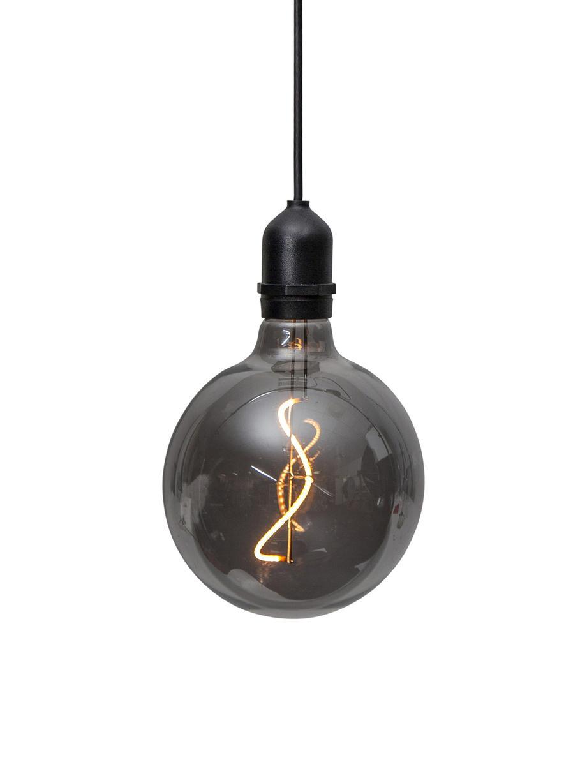 Mobiel hanglamp Bowl met tijdschakelaar, Lampenkap: glas, Fitting: kunststof, Donkergrijs, transparant, zwart, Ø 13 x H 18 cm