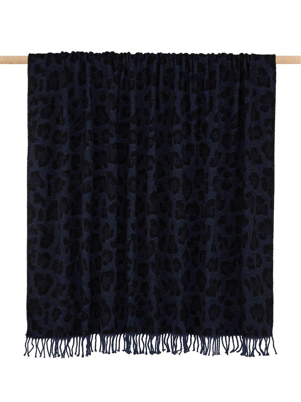 Plaid Bory mit Leoparden Print, 60%Baumwolle, 40%Acryl, Blau, B 150 x L 200