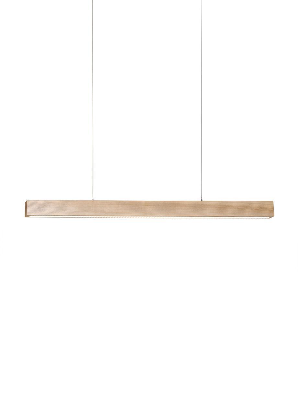Grosse LED-Pendelleuchte Timber aus Holz, Lampenschirm: Holz, Baldachin: Holz, Holz, 60 x 90 cm