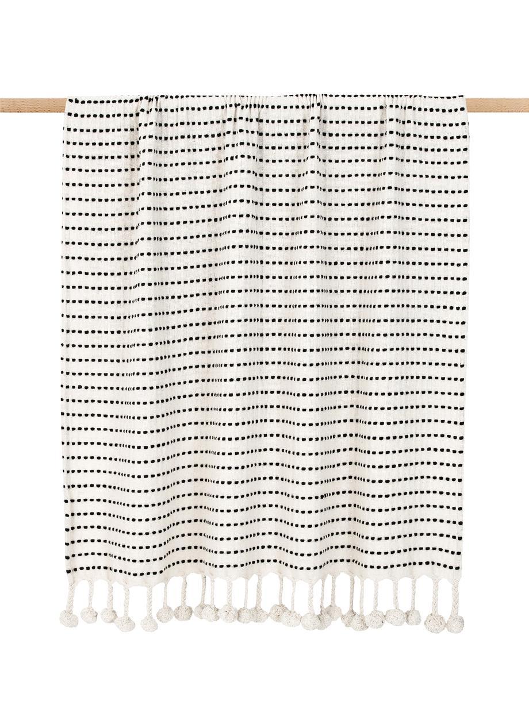 Plaid con pompon Molly, Cotone, Nero, beige, Larg. 130 x Lung. 170 cm