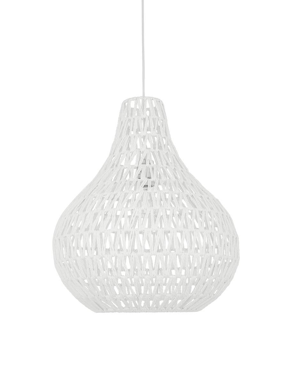 Pendelleuchte Cable Drop aus Stoff, Lampenschirm: Textil, Baldachin: Metall, Weiss, Ø 45 x H 51 cm
