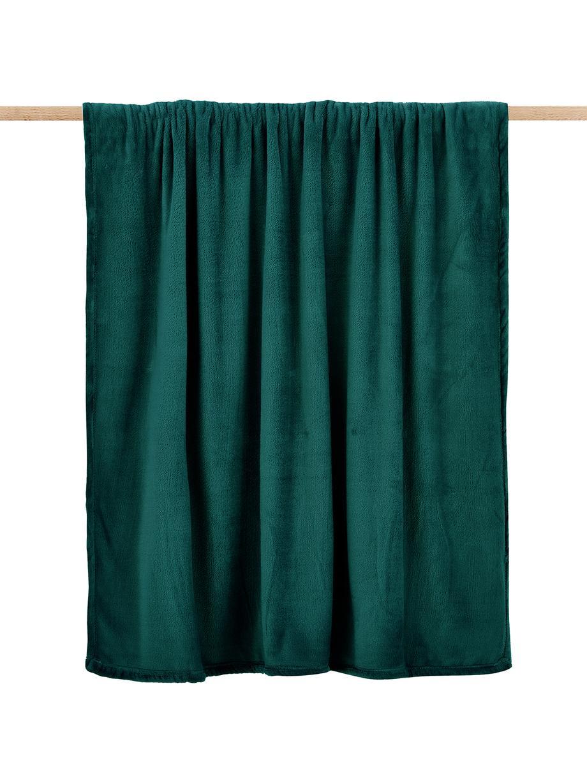 Plaid in morbido pile verde Doudou, 100% poliestere, Verde, Larg. 130 x Lung. 160 cm
