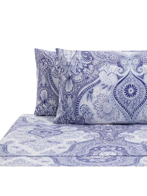 Set lenzuola in cotone Lato, Cotone, Tonalità blu, bianco, 240 x 270 cm