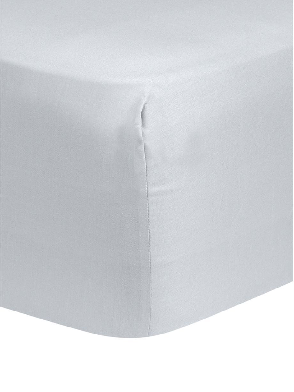 Prześcieradło z gumką z satyny bawełnianej Comfort, Jasny szary, S 90 x D 200 cm