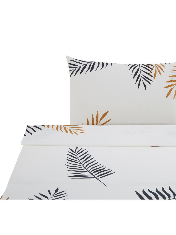 Sábana encimera Foliage, Algodón, Blanco, negro, ocre, Cama 90 cm (160 x 270 cm)