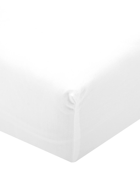 Prześcieradło z gumką z perkalu Elsie, Biały, S 90 x D 200 cm