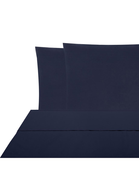 Set lenzuola in percalle Elsie, Tessuto: percalle Densità del filo, Blu scuro, 240 x 300 cm