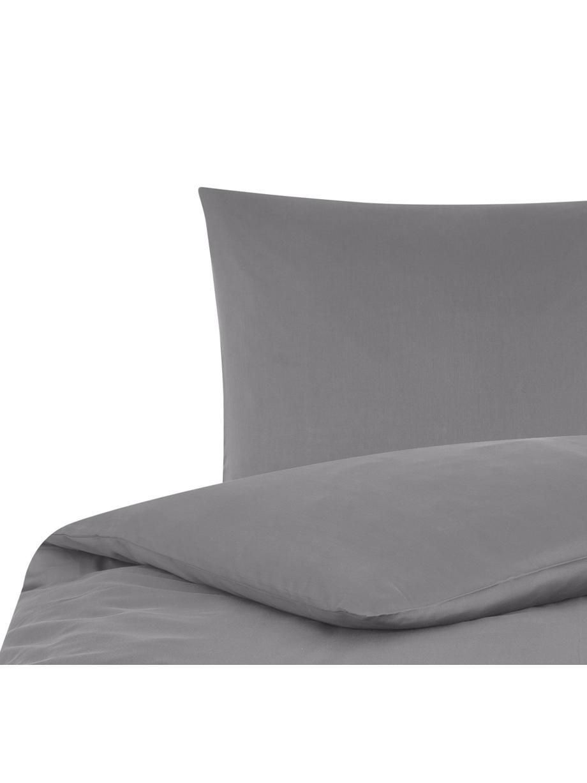 Parure copripiumino in raso di cotone Comfort, Grigio scuro, 155 x 200 cm