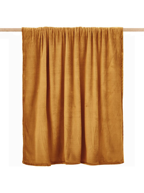 Zachte fleece plaid Doudou in mosterdgeel, 100% polyester, Geel, 125 x 160 cm