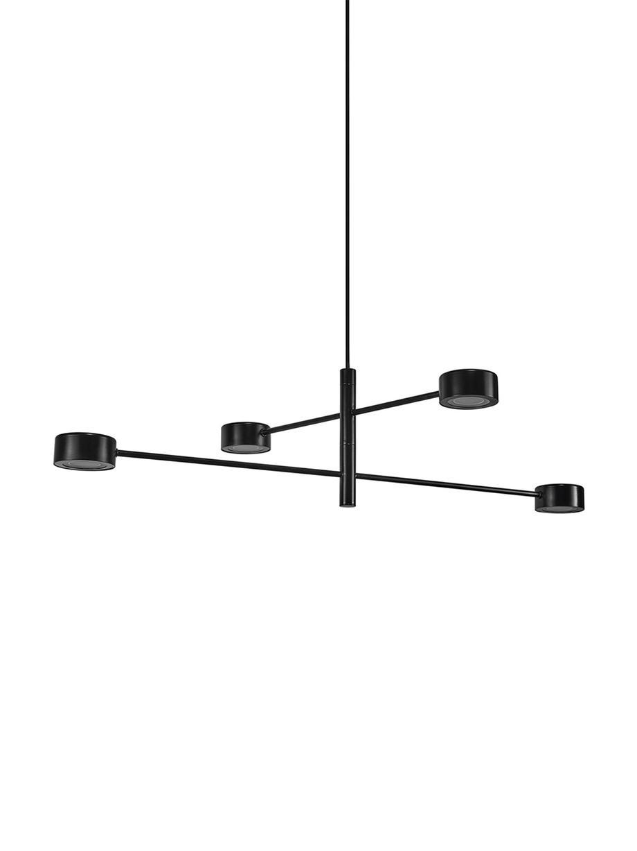 Duża lampa wisząca LED z funkcją przyciemniania Clyde, Czarny, Ø 90 cm x W 22 cm