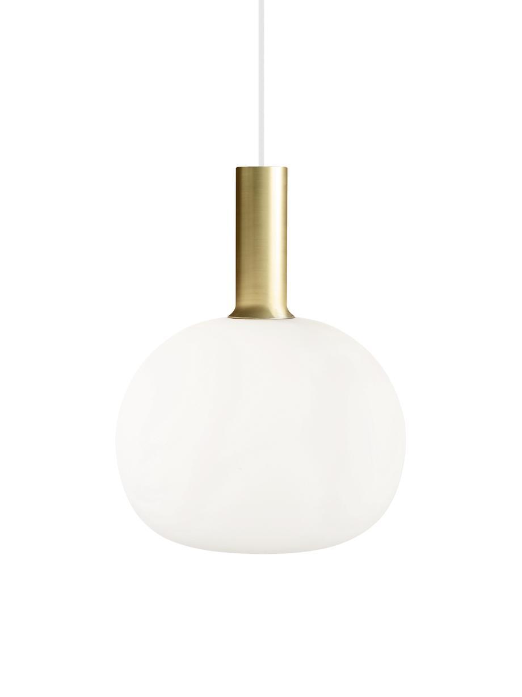 Lampada a sospensione in vetro opale Alton, Ottone, bianco, Ø 25 x Alt. 33 cm
