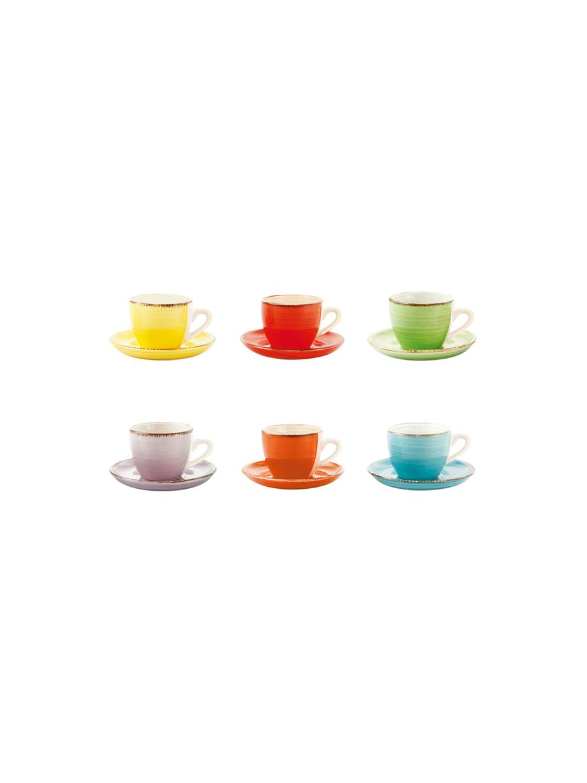 Tazas con platito Baita, 6uds., Gres (dolomita) pintadoamano, Amarillo, rojo, verde claro, lila, naranja, azul claro, 90 ml