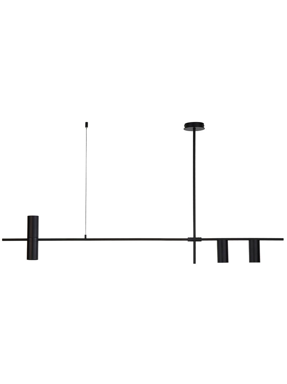 Große Moderne Pendelleuchte Cassandra, Metall, pulverbeschichtet, Schwarz, matt, Ø 6 x H 73 cm