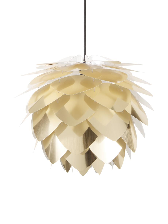 Lámpara de techo Silvia, set para montar, Pantalla: polipropileno, Anclaje: plástico, Cable: cubierto en tela, Latón, negro, Ø 50 x Al 41 cm