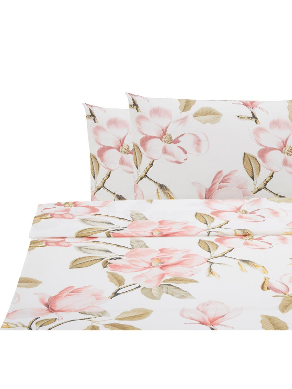 Set lenzuola in cotone ranforce Magnolia, Tessuto: ranforce, Bianco, rosa, verde, 240 x 270 cm