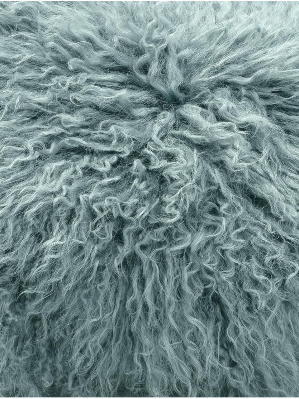 Federa arredo in pelliccia d'agnello a pelo lungo Ella, Retro: 100% poliestere, Turchese scuro, Larg. 40 x Lung. 40 cm