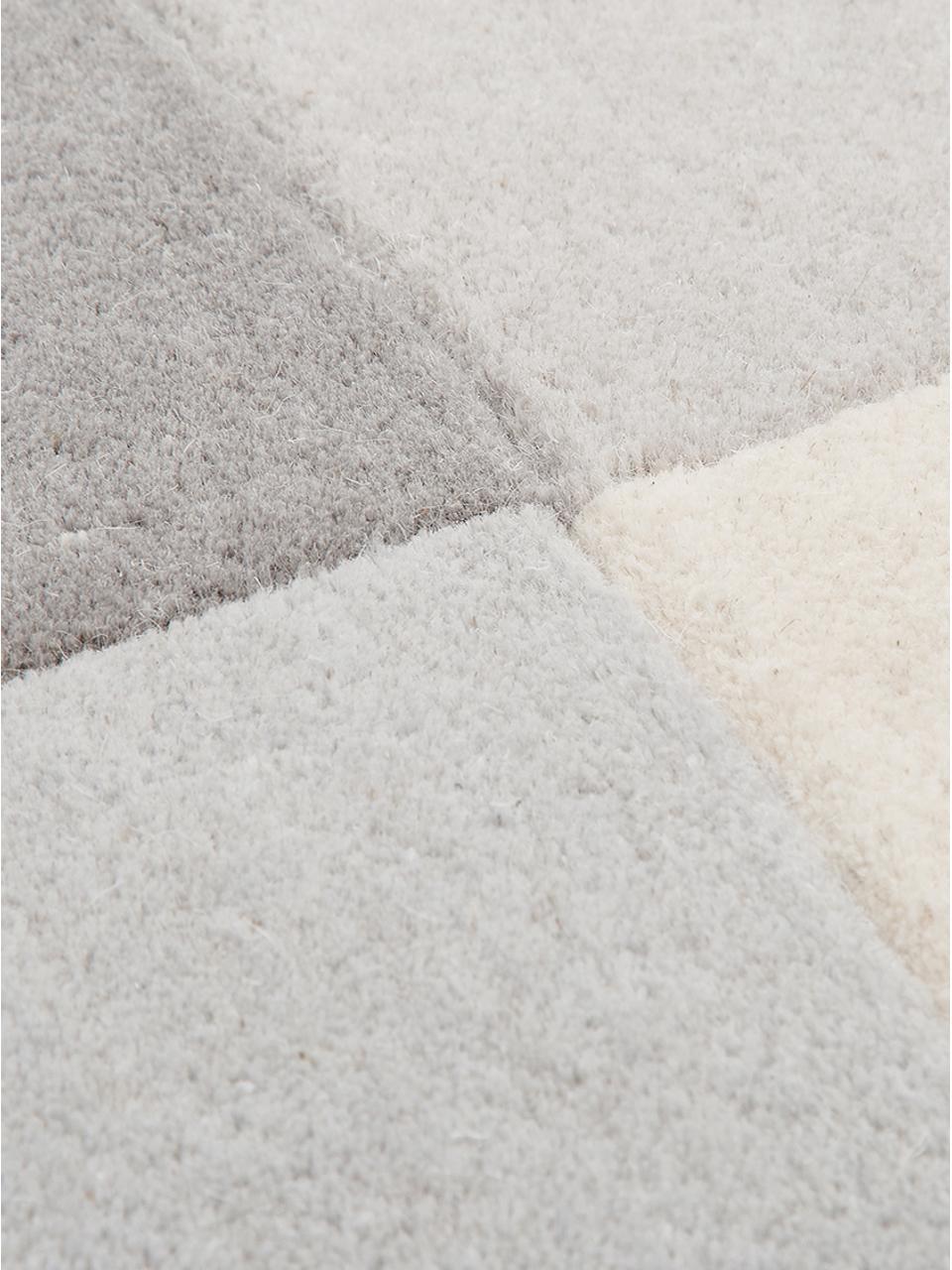 Handgetuft wollen vloerkleed Keith met geometrisch patroon, Bovenzijde: 100% wol, Onderzijde: katoen, Beige, grijs, B 200 x L 300 cm (maat L)