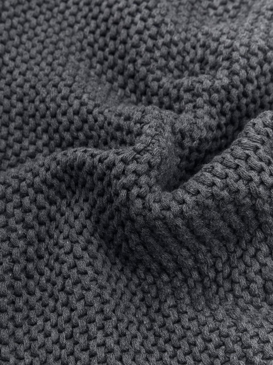 Strickdecke Adalyn in Dunkelgrau, 100% Baumwolle, Dunkelgrau, 150 x 200 cm