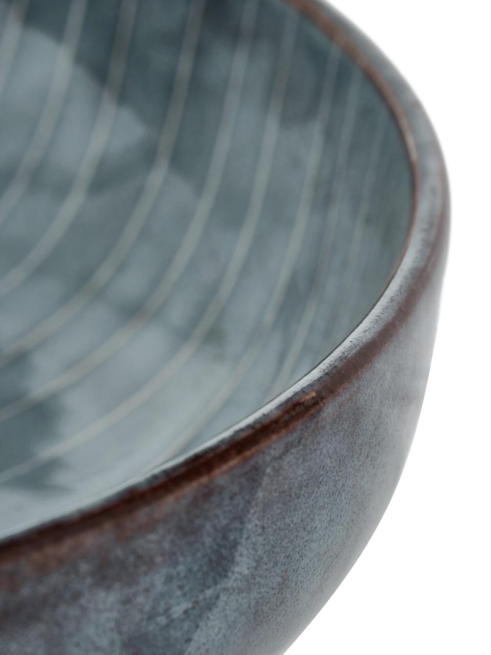 Handgemachte Schalen Nordic Sea Ø 22 cm aus Steingut, 4 Stück, Steingut, Grau- und Blautöne, Ø 22 x H 5 cm