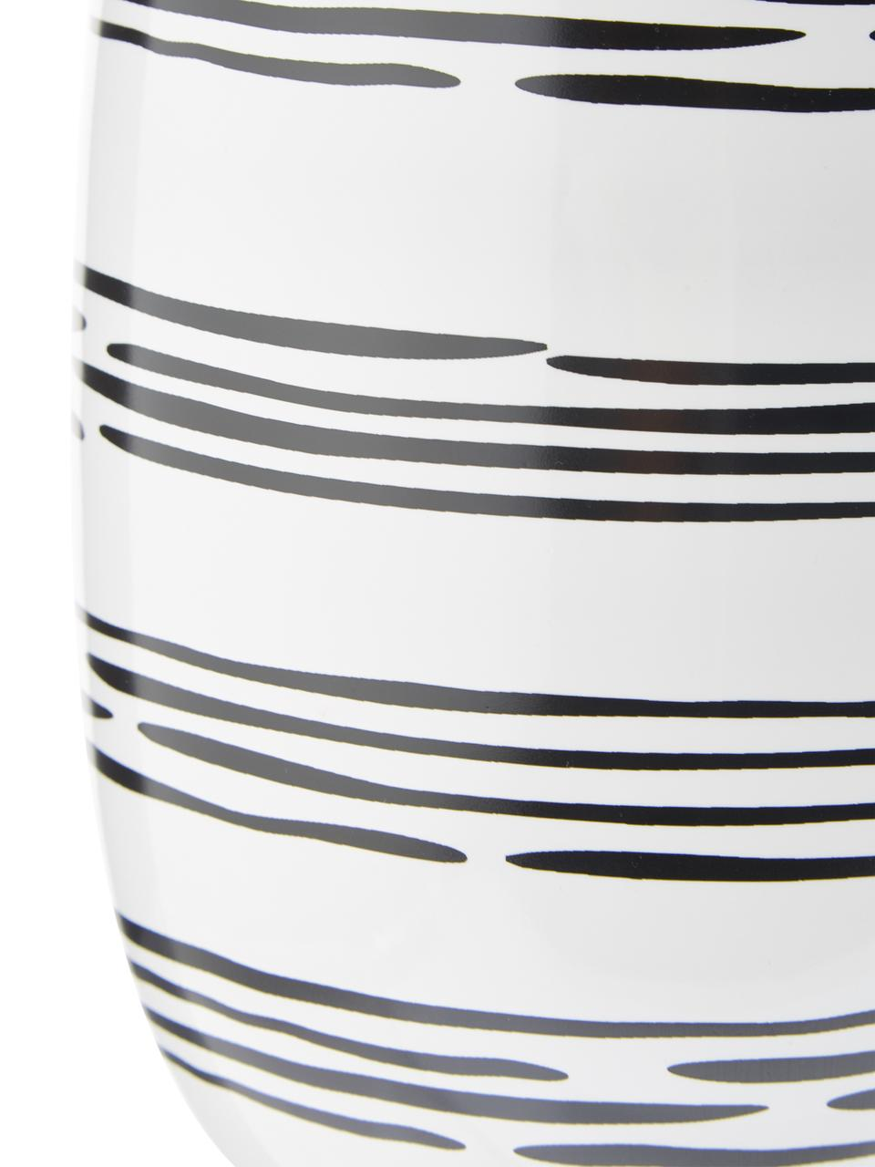 Handgemachte Vase Dora, Keramik, Cremeweiß, Schwarz, Ø 13 x H 20 cm