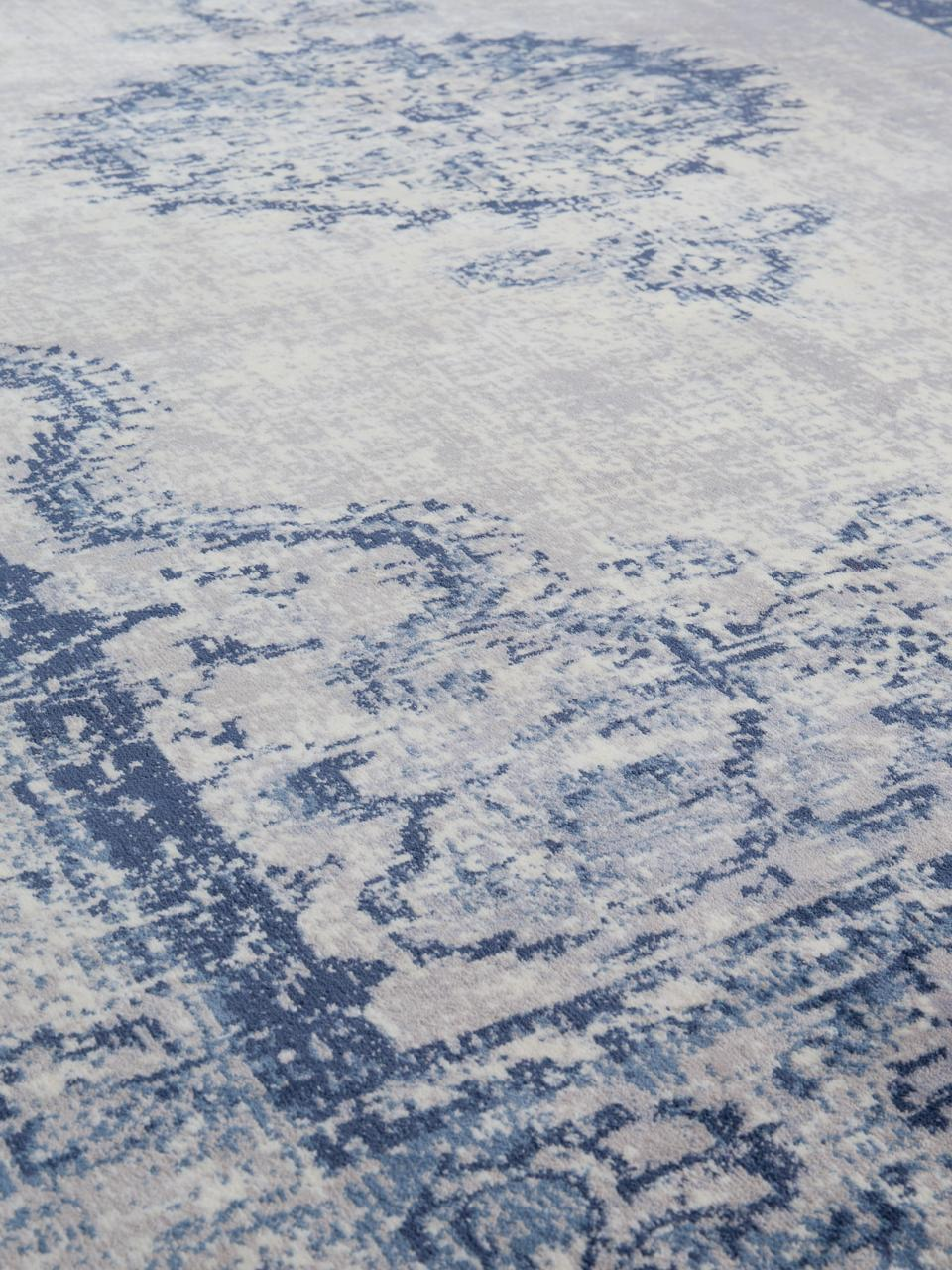 Dywan vintage z frędzlami Marvel, Niebieski i odcienie beżowego, S 175 x D 240 cm (Rozmiar M)
