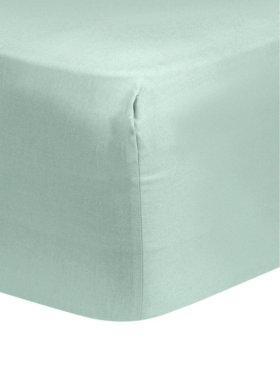 Drap-housse en satin de coton vert sauge Comfort, Vert sauge