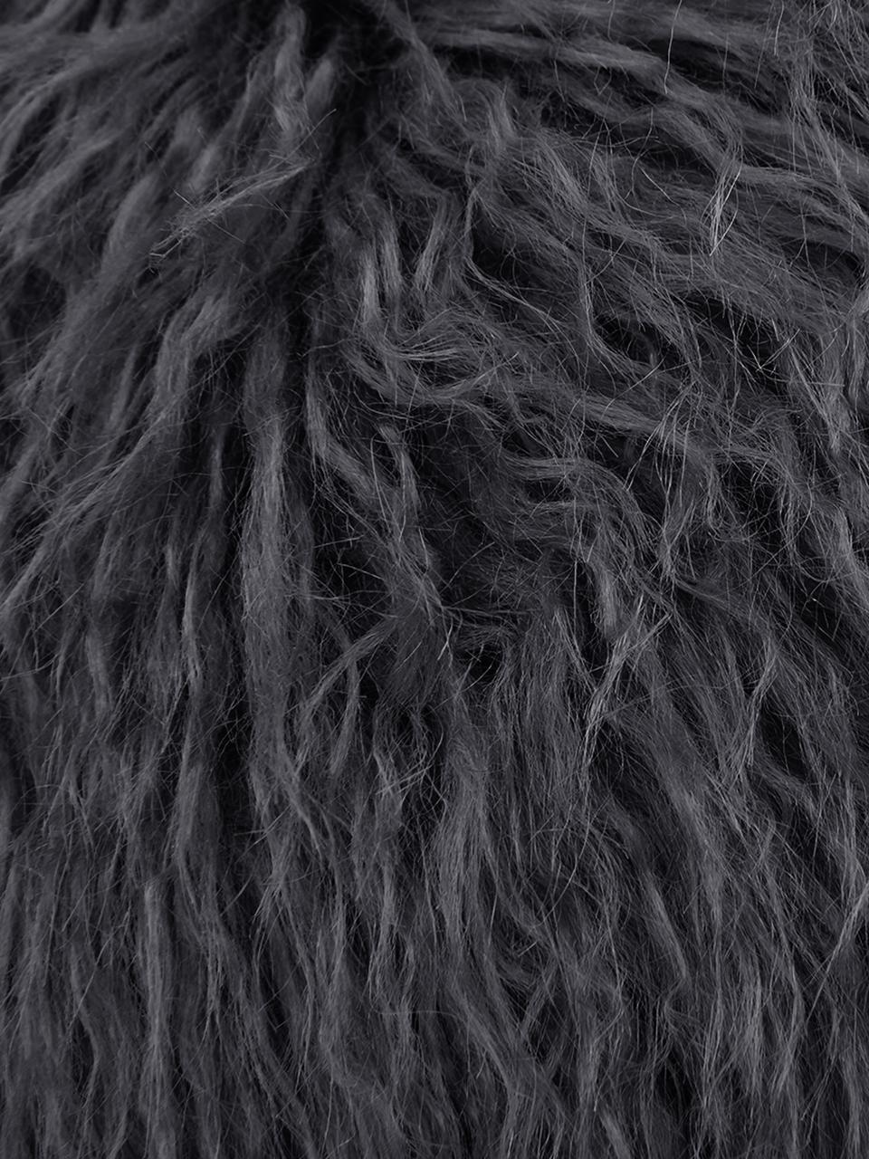 Federa arredo in ecopelliccia grigio scuro Morten, Retro: 100% poliestere, Grigio scuro, Larg. 40 x Lung. 40 cm