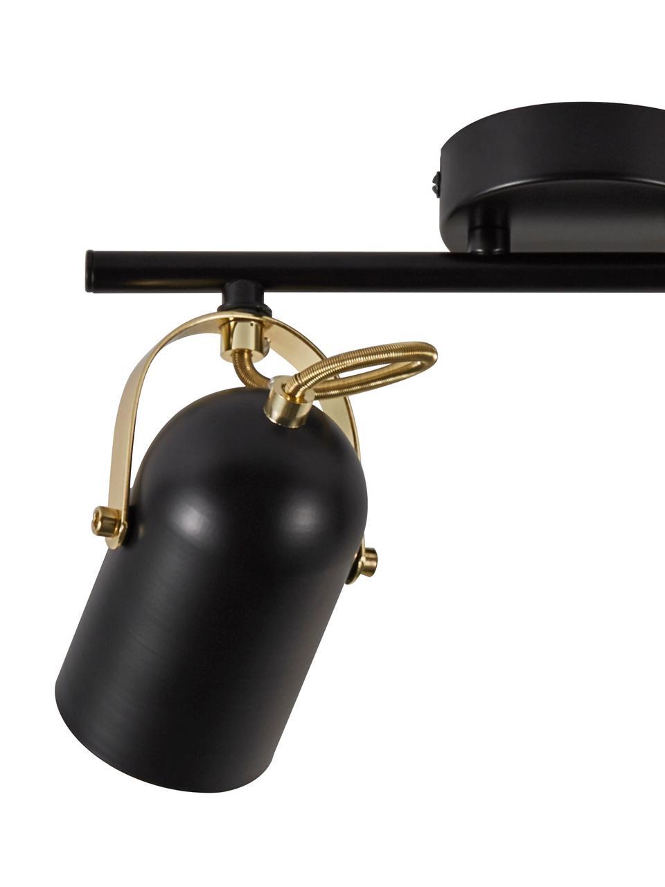 Retro-Deckenstrahler Lotus, Lampenschirm: Metall, beschichtet, Dekor: Metall, beschichtet, Baldachin: Metall, beschichtet, Schwarz, Messingfarben, 35 x 19 cm