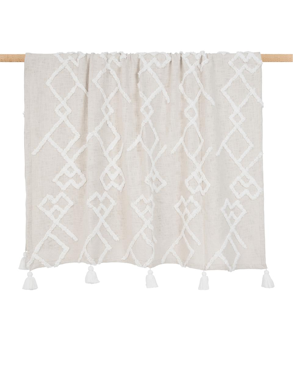 Plaid coton à décoration tuftée Tikki, Beige