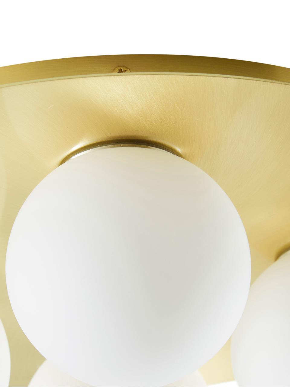 Kinkiet/lampa sufitowa Hitch, Osłona mocowania sufitowego i oprawa: mosiądz, matowy Klosz: biały, Ø 36 x W 12 cm