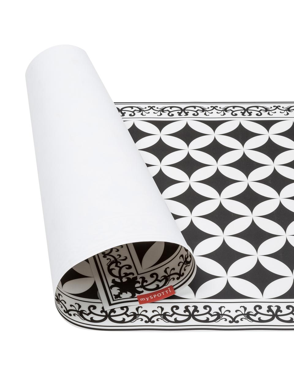 Flache Vinyl-Bodenmatte Chadi in Schwarz/Weiß, rutschfest, Vinyl, recycelbar, Schwarz, Weiß, 65 x 255 cm
