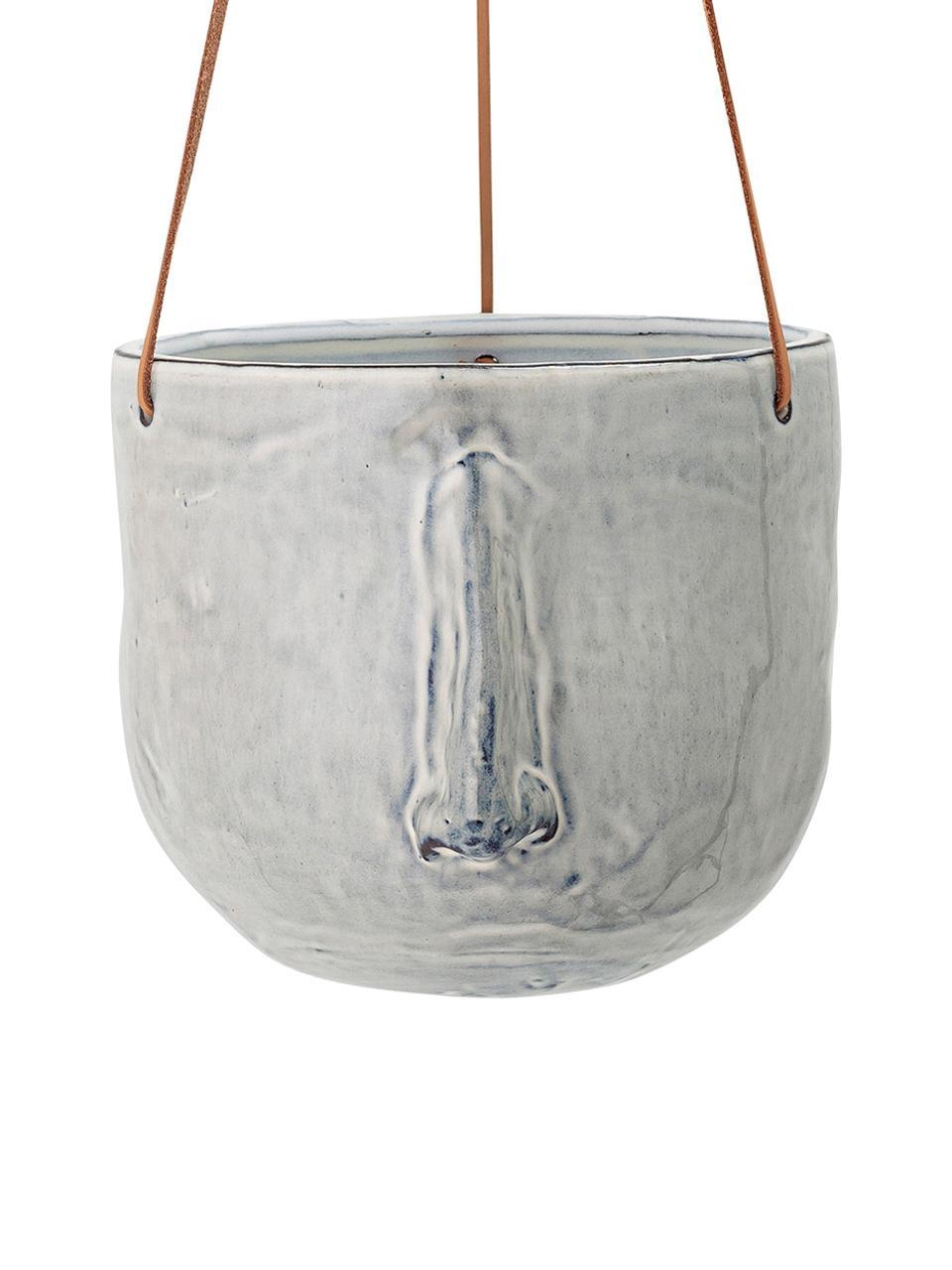 Hängender Übertopf Sama aus Steingut, Übertopf: Steingut, Grau, Ø 17 x H 16 cm