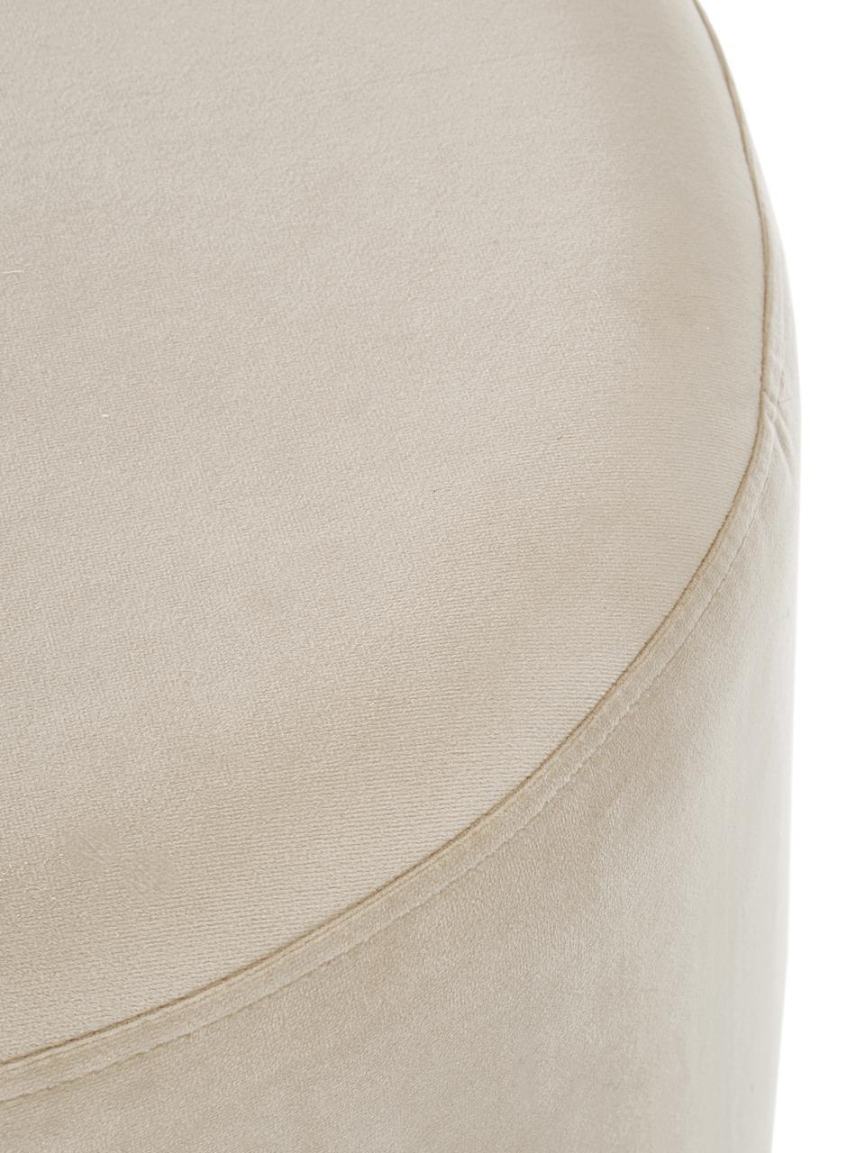 Fluwelen poef Daisy, Bekleding: fluweel (polyester), Frame: multiplex, Fluweel beige, Ø 38 x H 45 cm