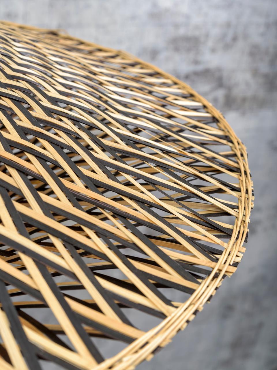 Boho-Deckenleuchte Bali aus Bambus, Lampenschirm: Bambus, Baldachin: Metall, beschichtet, Beige, Schwarz, Ø 44 x H 12 cm
