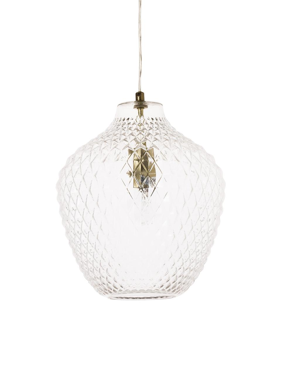 Pendelleuchte Lee aus Glas, Lampenschirm: Glas, Transparent, Messing, ∅ 27 x H 33 cm