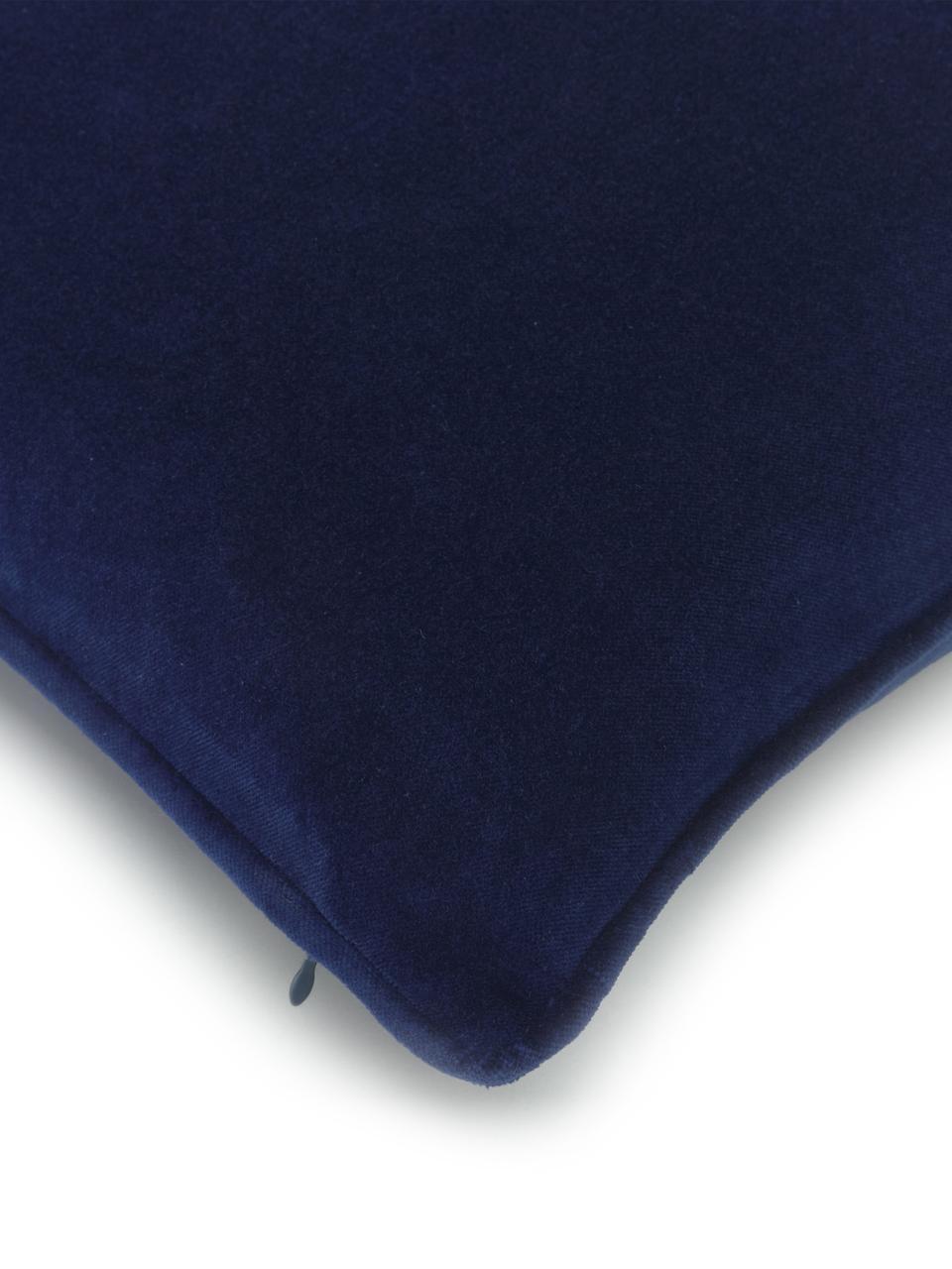 Poszewka na poduszkę z aksamitu Dana, 100% aksamit bawełniany, Marynarski granat, S 40 x D 40 cm