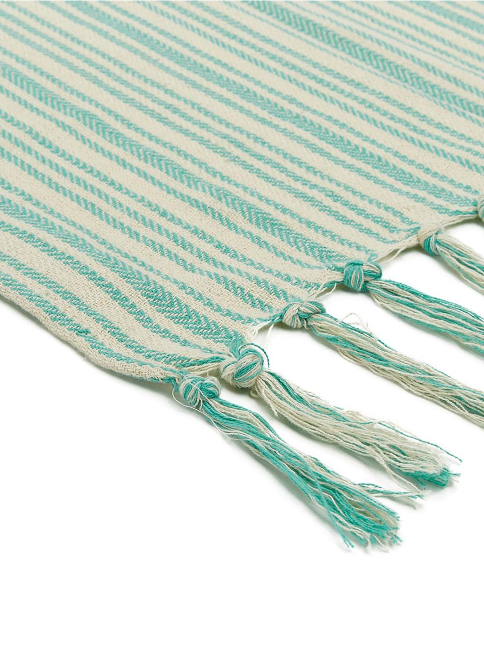Couvre-lit en coton pur avec franges Puket, Turquoise, blanc cassé