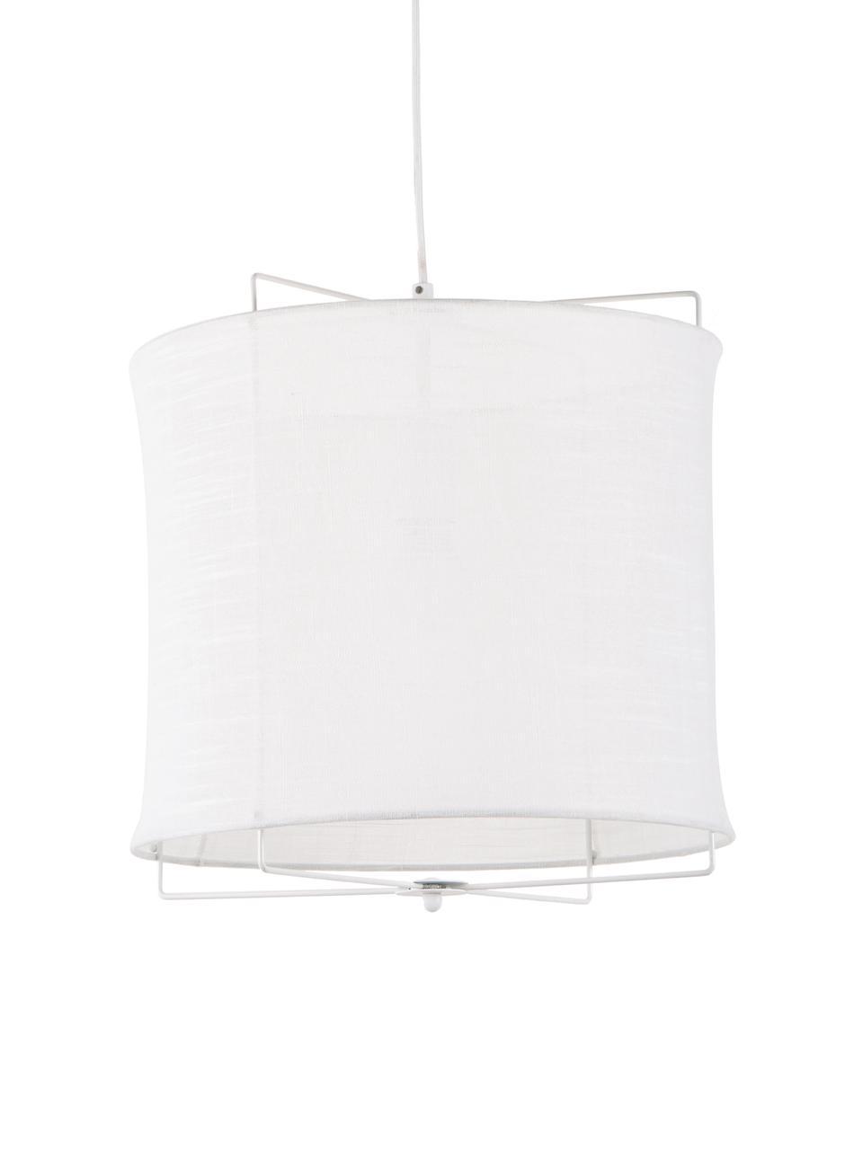 Lampa wisząca z lnu Clouds, Biały, Ø 30 x W 30 cm