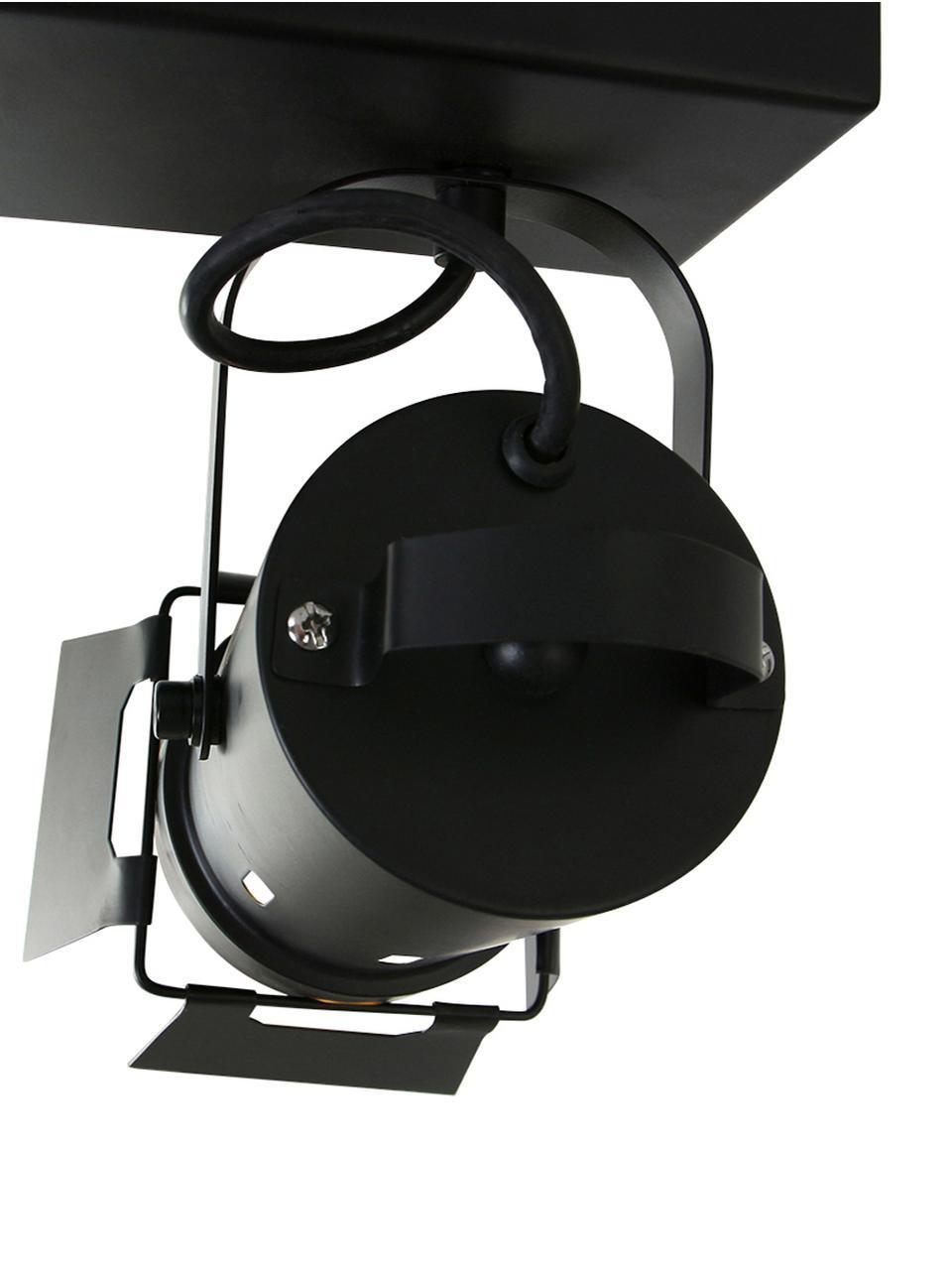 Deckenstrahler Carre im Industrial-Style, Baldachin: Metall, lackiert, Schwarz, 58 x 37 cm