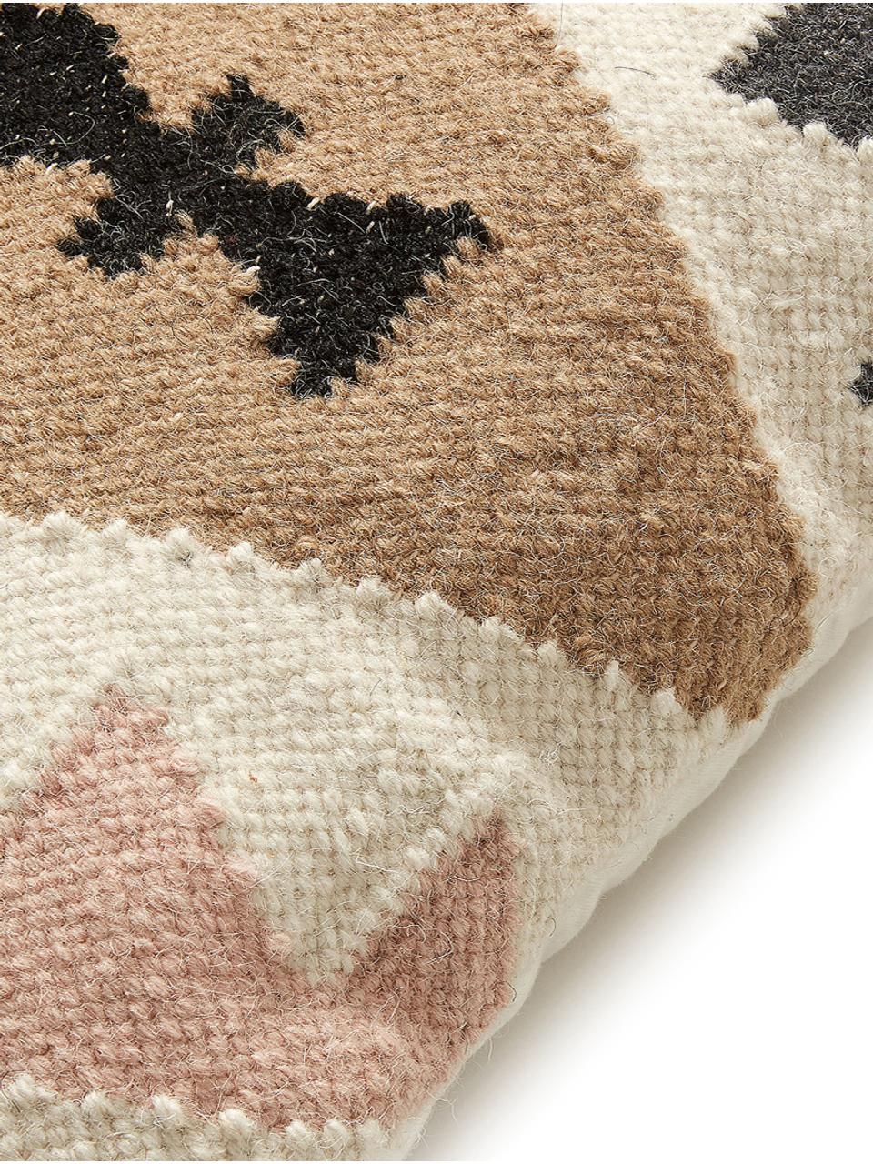 Ethno Kissenhülle Gayle aus Wolle, 90% Wolle, 10% Baumwolle, Beige, Schwarz, Creme, Rosa, 45 x 45 cm