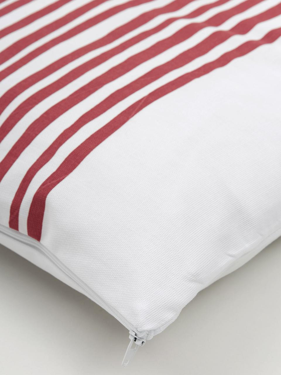 Federa arredo con strisce Corey, 100% cotone, Bianco, rosso scuro, Larg. 40 x Lung. 40 cm