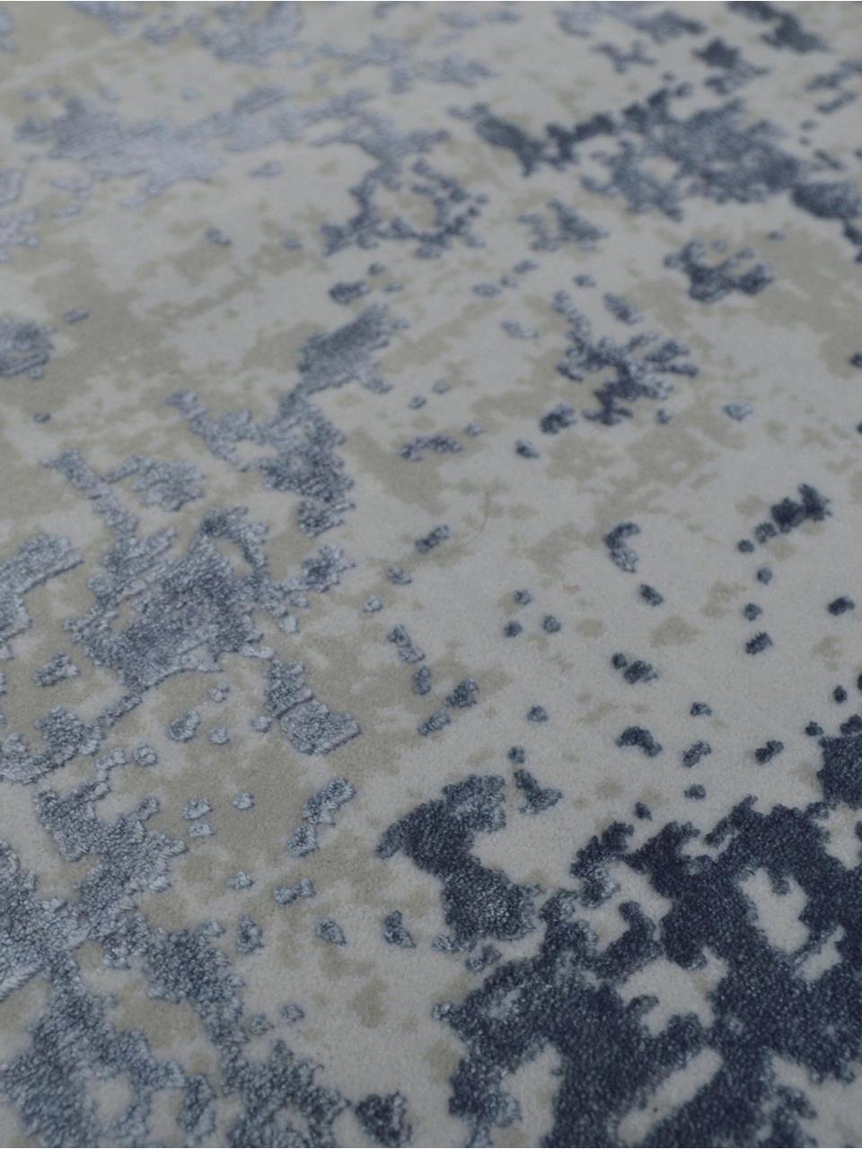 Tapis vintage bleu gris avec franges Cordoba, Bleu, gris