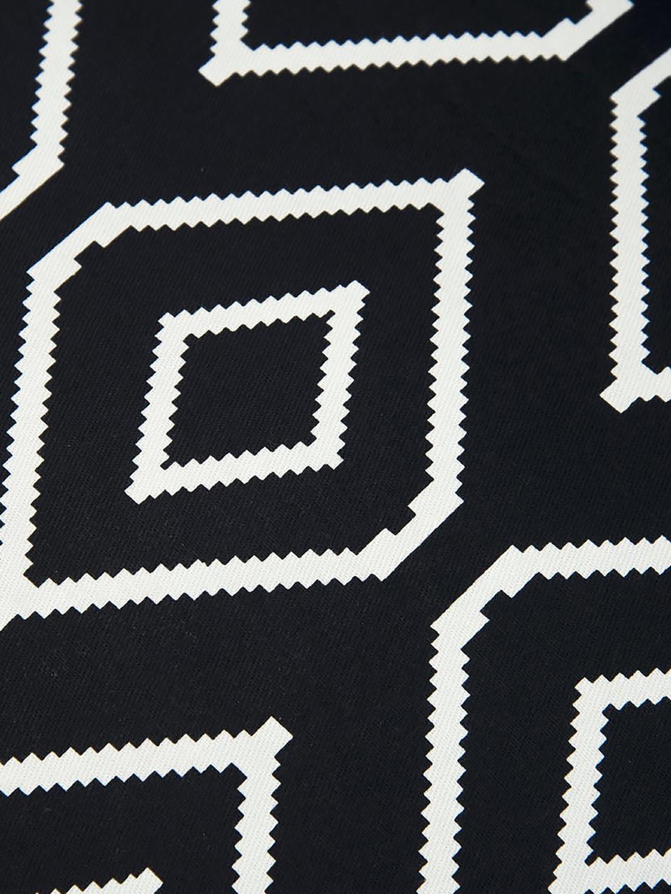 Kissenhülle Gracie in Schwarz/Weiß mit Rautenmuster, 100% Baumwolle, Panamabindung, Schwarz, Creme, 40 x 40 cm