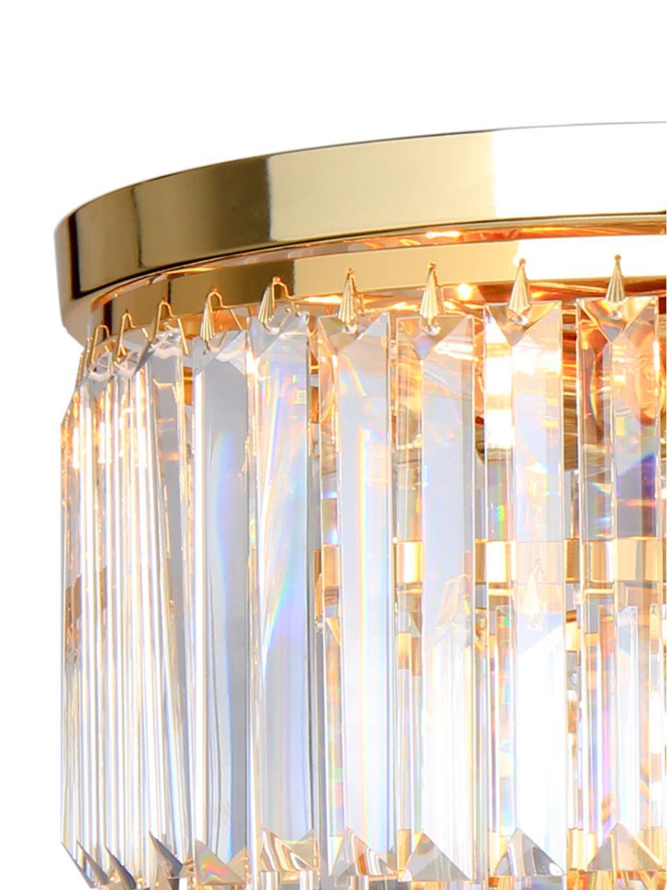 Deckenleuchte Gracja aus Glas, Lampenschirm: Glas, Goldfarben, Transparent, Ø 40 x H 40 cm