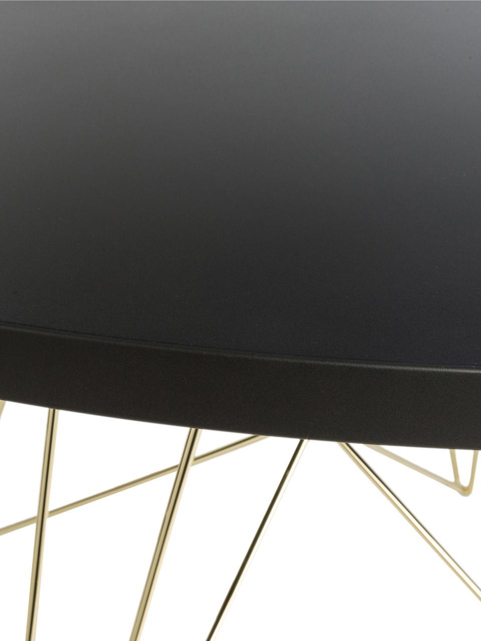 Runder Esstisch XZ3 mit Trestle Beinen, Tischplatte: Mitteldichte Holzfaserpla, Beine: Stahldraht, vermessingt, Messing, Ø 120 x H 74 cm