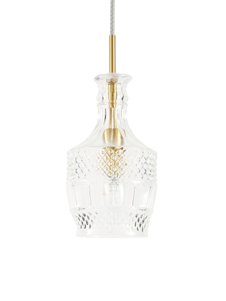 Malé závěsné svítidlo ze skla Brussels, Transparentní, zlatá