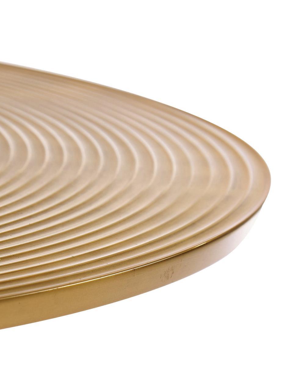 Tavolino da salotto rotondo color ottone Hypnotising, Alluminio verniciato, Ottonato, Ø 77 x Alt. 40 cm